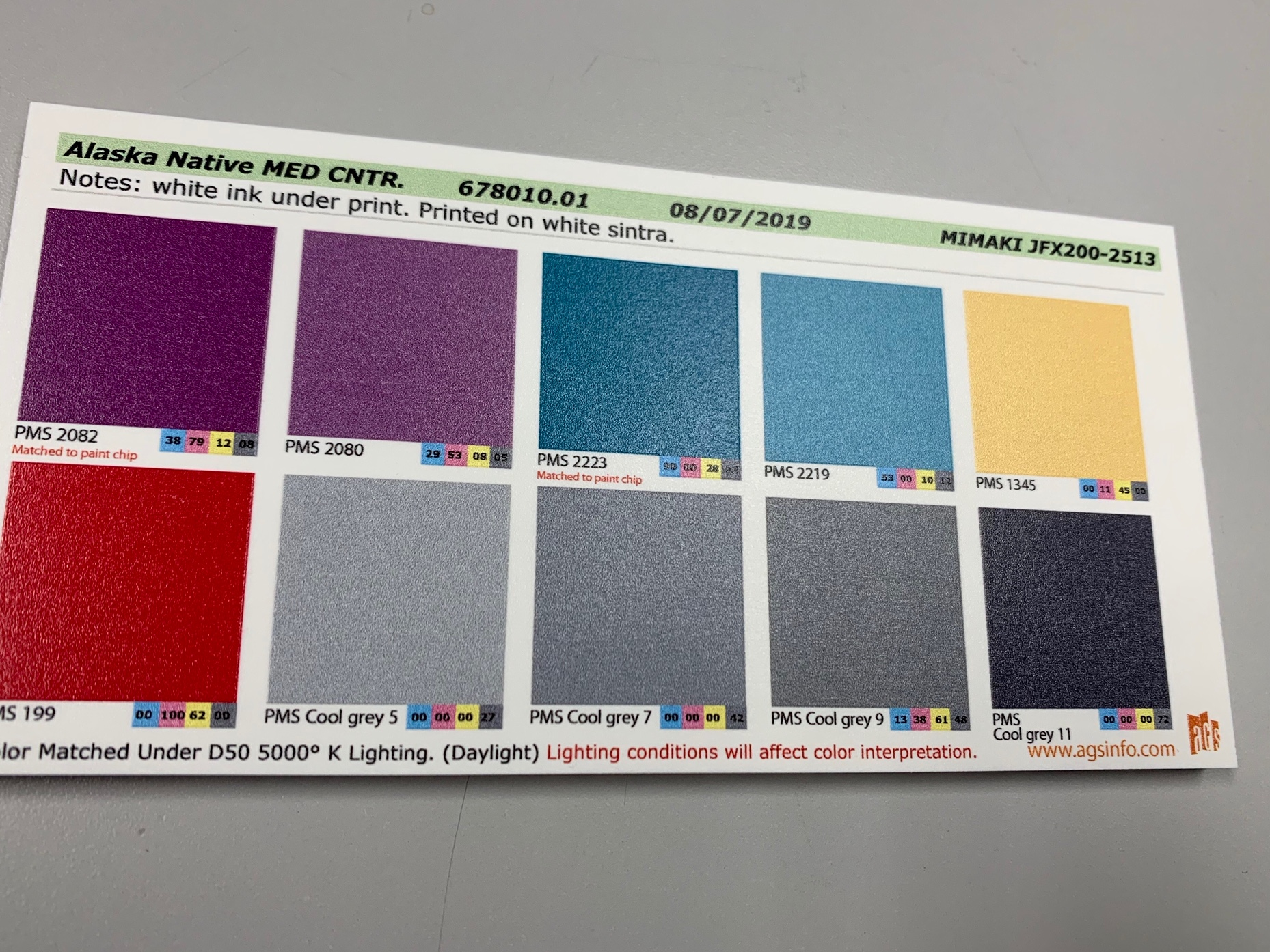 color match sheet